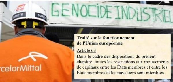 FERMETURE DES HAUTS-FOURNEAUX DE FLORANGE : FRANÇOIS ASSELINEAU RAPPELLE QUE CE SONT LES TRAITÉS EUROPÉENS QUI ONT RENDU POSSIBLE LE DÉMEMBREMENT D'ARCELOR PAR MITTAL